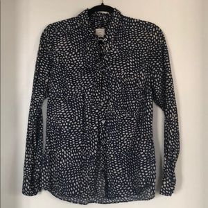 GAP brand navy and white polka dot blouse